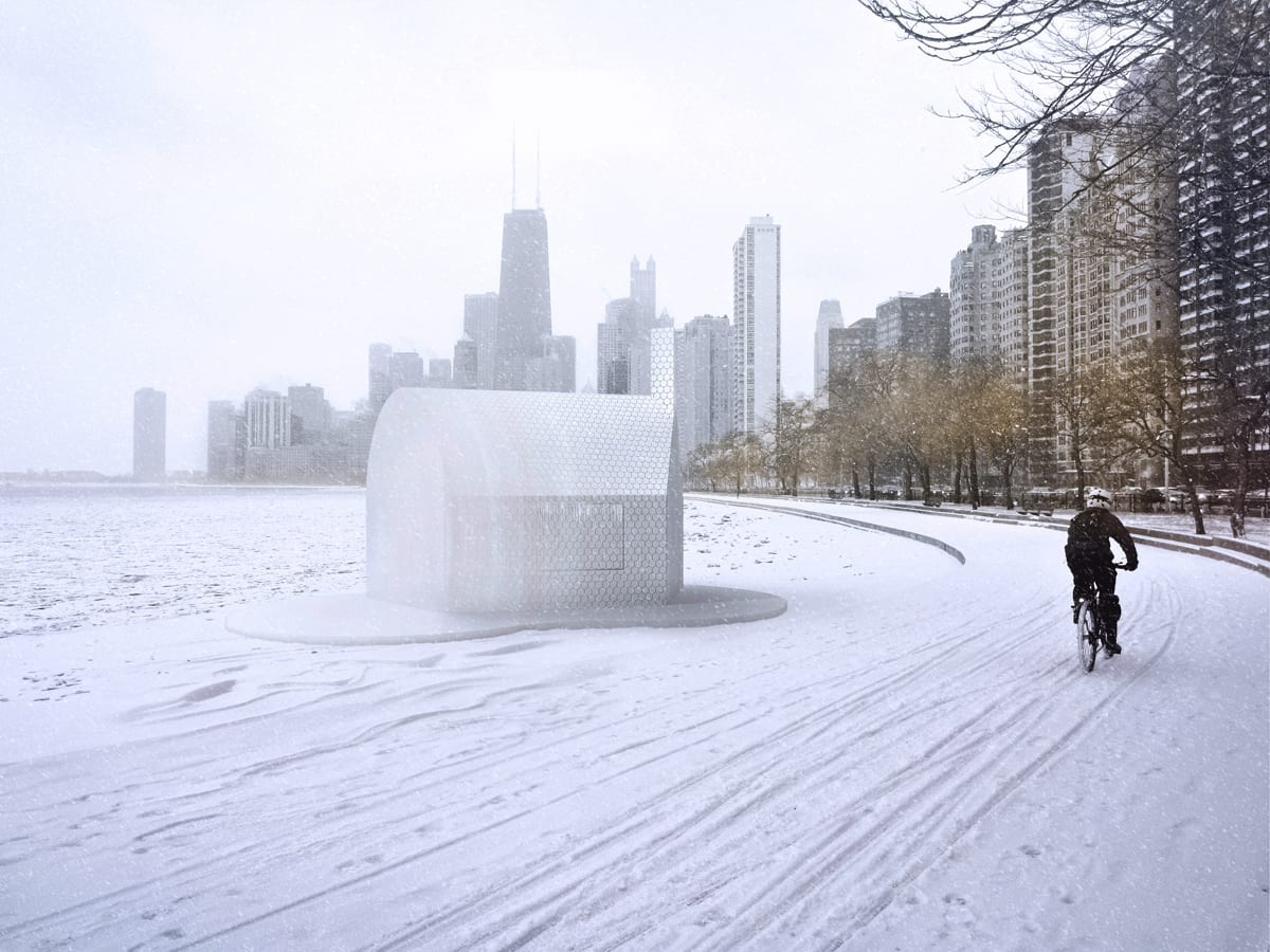 kiosk lakefront winter